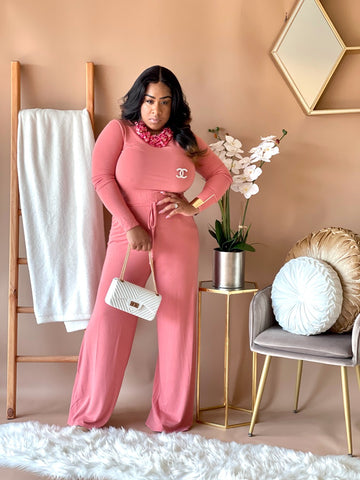 Not So basic  Long Sleeve Jumpsuit ( Rose)