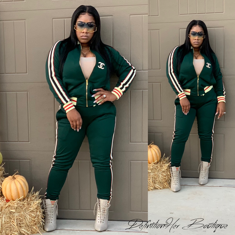 Slay in Forest Green Jogger Set