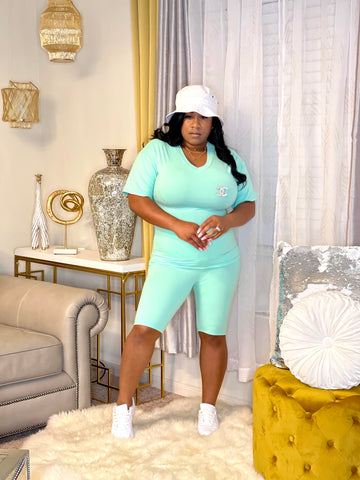 Spring V- neck Get up & Go Set (Mint)