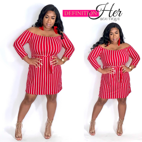 Simple but Cute Off Shoulder Midi (RED)
