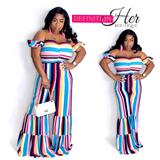 Rainbow Stripe Me Down Flare Jumpsuit