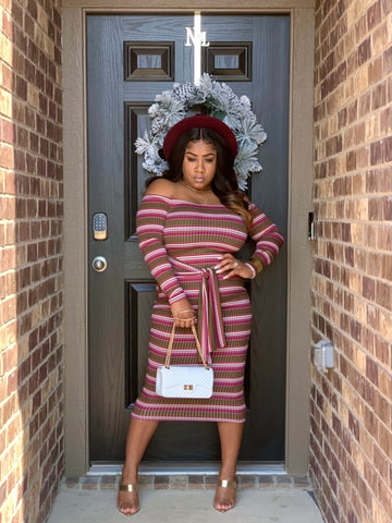 Pretty Stripes Off Shoulder Midi