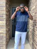 KING NAVY CHECKERED POLO Shirt