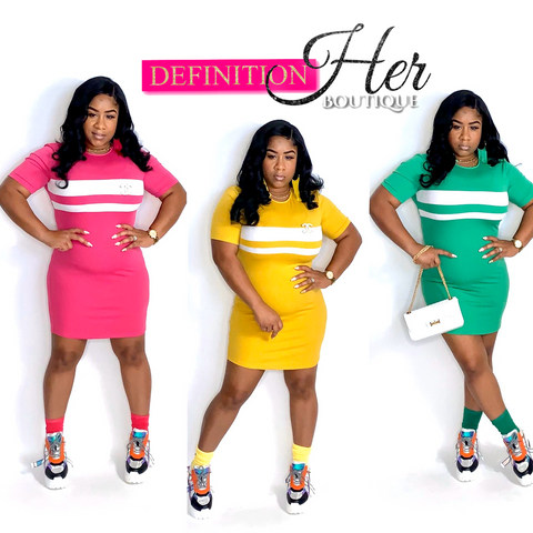 (RESTOCKED) Solid Striped Midi ( Hot pink, Yellow, Green)