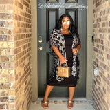 Black & White Summer Breezy Cardigan & TUBED MIDI SET