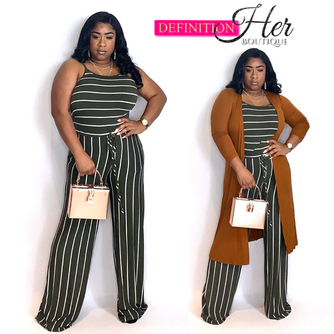 Olive Thin striped Jumpsuit