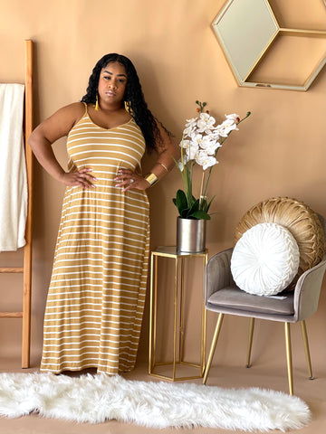Striped Harlem Pocket Maxi (Carmel)