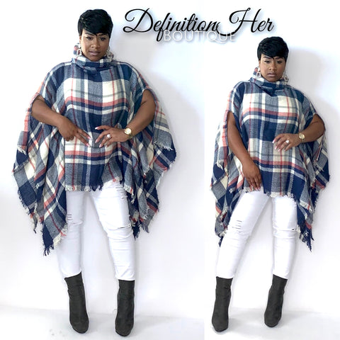 Pretty Girl Poncho  (Blue)