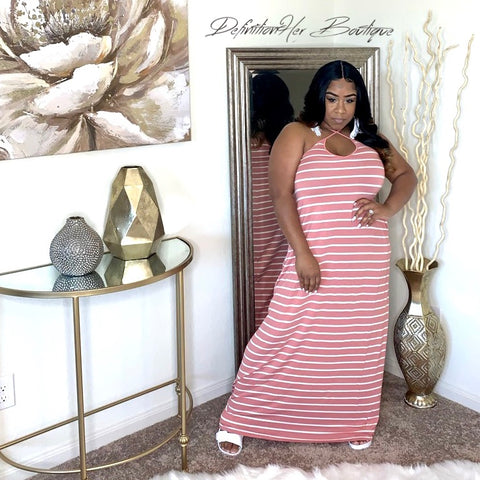 Striped Harlem Pocket Maxi ( Pink)