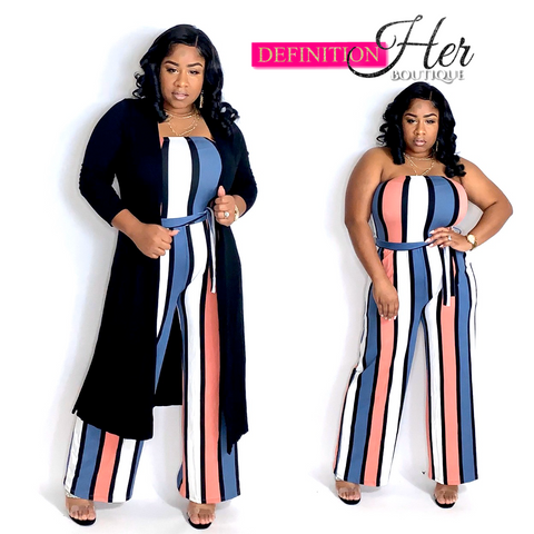 Pink & Blue Stripes Jumpsuit