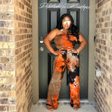 Tye Die Tubed Jumpsuit & TIED CARDIGAN SET ( Orange/ Grey/ Black)