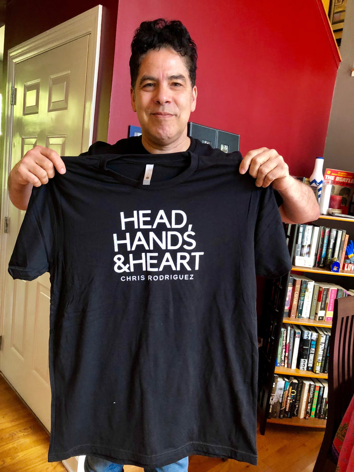 Chris Rodriguez Unisex Head, Hands and Heart T-shirt (black)
