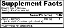 Load image into Gallery viewer, Jarrow Formulas Acetyl L-Carnitine 500mg