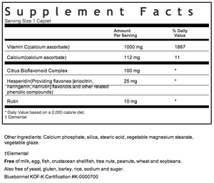 Bluebonnet Buffered Vitamin C 1000mg Supplement Facts