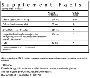 Bluebonnet Buffered Vitamin C 500mg Supplement Facts