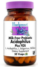 Load image into Gallery viewer, Bluebonnet Milk-Free Probiotic Acidophilus Plus FOS 50 capsules front