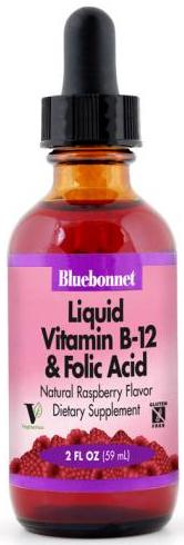 Bluebonnet Liquid Vitamin B12 & Folic Acid 2 ounces Front