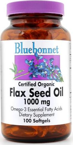Bluebonnet Certified Organic Flax Seed Oil 1000mg 100 softgels Front
