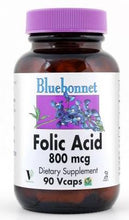 Load image into Gallery viewer, Bluebonnet Folic Acid 800mcg 90 capsules front