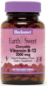Bluebonnet EarthSweet Chewable Vitamin B-12 2000mcg 90 Tablets Front
