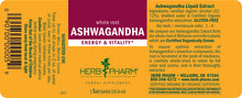 Load image into Gallery viewer, Herb Pharm Ashwagandha Extract Label