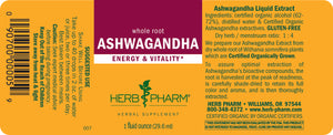 Herb Pharm Ashwagandha Extract Label
