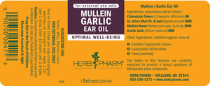 Herb Pharm Mullein Garlic Ear Oil Label