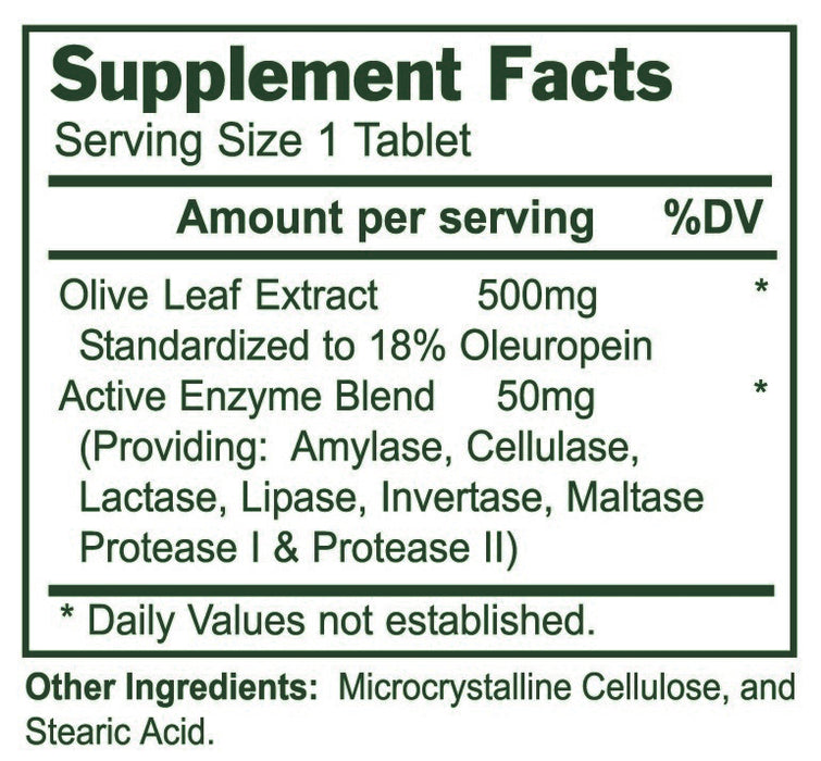 Olive Leaf 500 Mg 240 Tablets | Enzyme Process