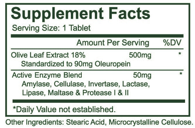 Olive Leaf 500 Mg 60 Tablets