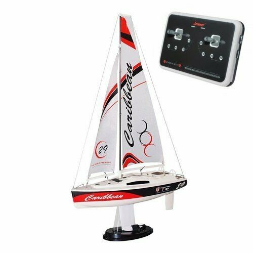 Joysway Caribbean Mini Sailing Yacht RC Sailboat (Red) RTR Ready to Run