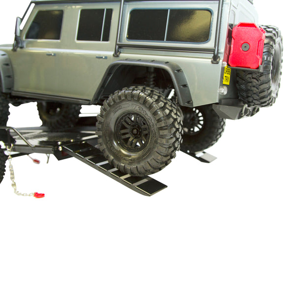 1:10 Scale Dual Axle Flatbed Trailer Kit with Lights for RC Rock Crawler Truck Buggy Cars
