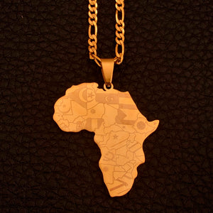 Africa Map Pendant Gold Color Africa Map Pendant Chain Necklaces – Africanfull