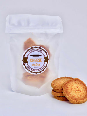 Cheese coins.  8 crackers made with organic cheddar cheese.  Packaged in a translucent, resealable bag with an attractive label on the front.
