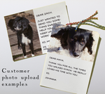 Examples of personalized cards with customer photo uploads.