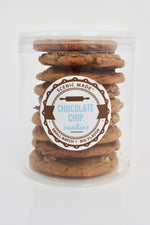 Chocolate chop cookies, 8 cookies stacked in a clear, food safe container with an attractive label on the front.