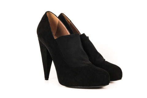 Acne Black Suede Pumps with Spandex Detailing