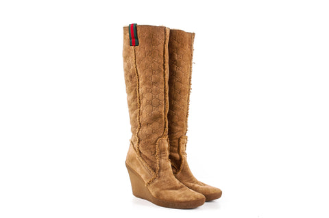 "Gucci Camel Knee High Boots with ""GG"" Pattern"