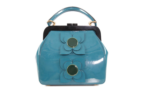 Orla Kiely Teal Patent Leather Bag