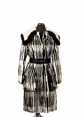 Marni Couture Mink Jacket in White and Black