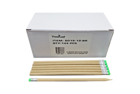 144 CT. #2 BROWN RECYCLED PAPER PENCILS WITH ERASER TIP,12 BOXES ( 1728 Pencils )