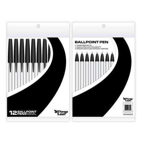 STICKPENS 12 PACK , BLACK , POLY PACK