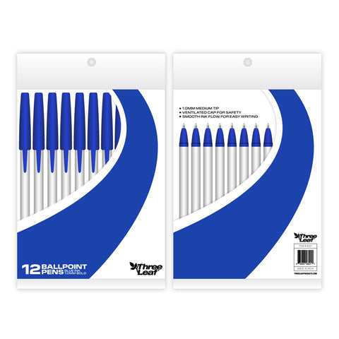 STICK PENS 12 PACK , BLUE, POLY PACK