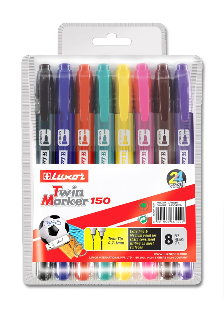 TWIN TIP MARKER MULTICOLOR (8 pc. Pack) - 8 vivid colors, Double sided marker 0.7 mm and 1.0 MM point