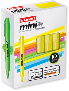 10-PK, MINI FLUORESCENT HIGHLIGHTERS WITH FIVE ASSORTED COLOR