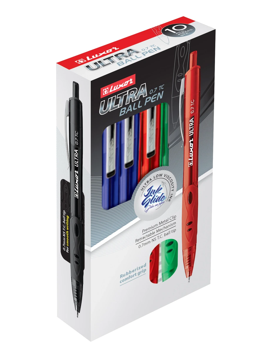 10-PC. - LUXOR ULTRA - RETRACTABLE BALLPOINT, FINE POINT PEN (0.7MM) - ASSORTED COLOR 10-CT. BOX CASE.