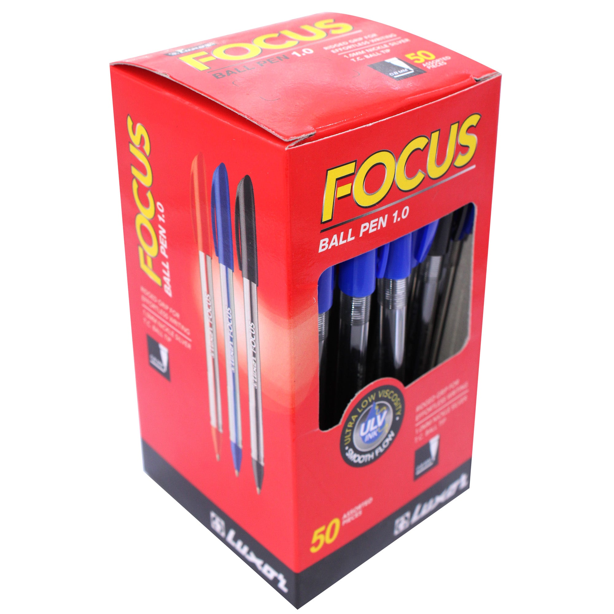 50-PK BOX, FOCUS BALL PENS, ASSORTED COLORS - RED, BLUE, AND BLACK.