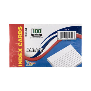 100 CT. 3 X 5, INDEX CARDS RULED, WHITE