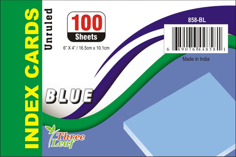100 CT.  4 X 6, INDEX CARDS UNRULED, BLUE