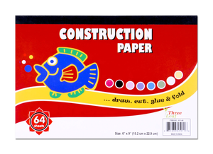 "CONSTRUCTION PAPER PAD 9"" X 6"" - 64 SHEETS - 8 ASSORTED COLORS"