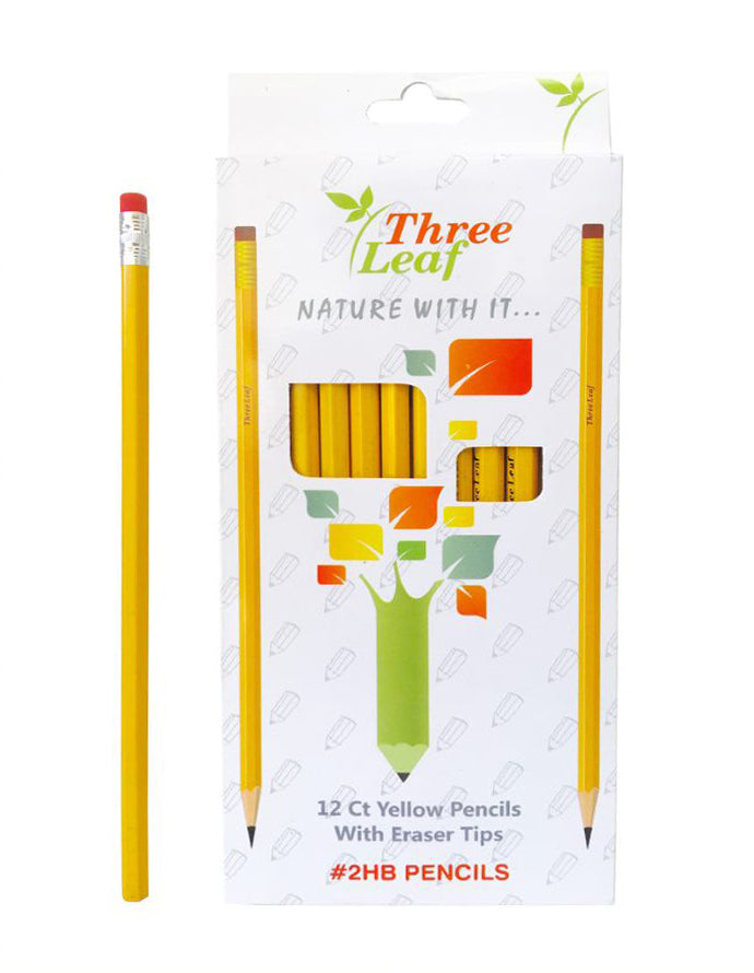 12 PK YELLOW PENCILS WITH ERASER